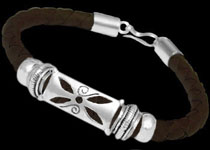 Men's Jewelry - Leather Bracelets with Sterling Silver Beads
