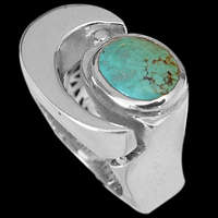 Designer handcrafted sterling silver and turquoise rings